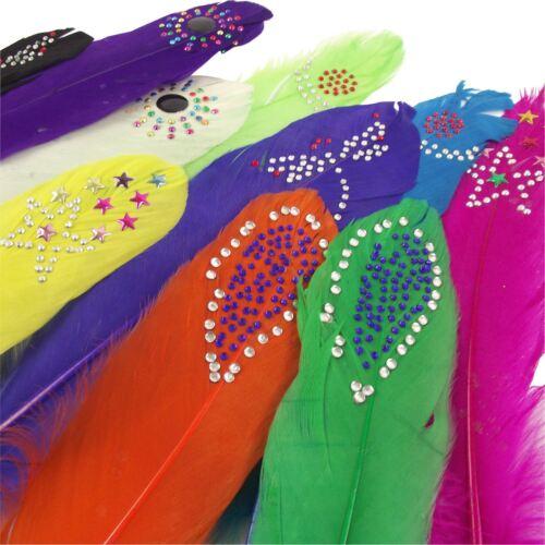 Diamante Tachonado largas plumas Tarjetas de Color Premium Accesorios Craft