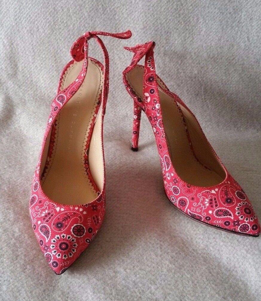 New Charlotte Olympia Olympia Charlotte Monroe Bandana Sling back pump heel 8 38 Red Shoe 721ea9