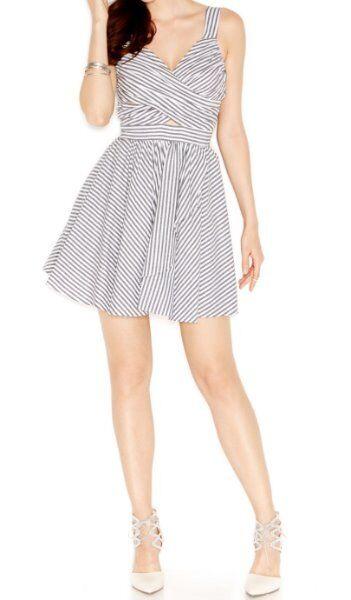 BCBGeneration Dress SZ 8 schwarz Weiß Combo A Line Striped Cutout Cocktail Dress
