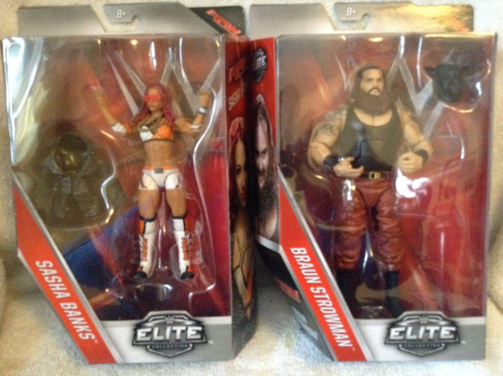 WWE Elite Combo Sasha Banks & Braun Strowman Ser.50  MIB 2017 Brand Nuovo Limited