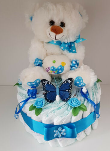 Windeltorte blau XL,Baby Geschenk,Geburt,Taufe,Babyparty für Junge,Pampers Gr. 3