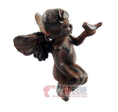 "Cast Iron Winged Garden Fairy 7"" Tall Figurine Statue"