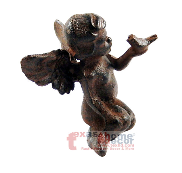 Rustic Cast Iron Sitting Winged Angel With Bird Cherub Garden Statue  Figurine
