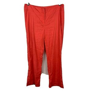 Sussan-Womens-Pants-Size-10-Red-With-Pockets-Linen-Blend-Good-Condition