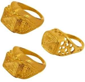 70 S 80 S anni/'80 Costume anelli d/'oro x 3 Bling Rapper Del Mezzano Nuovi