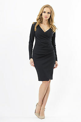 Women's Wiggle Dress V Neck Wrap Dress Long Sleeve Pencil Tunic Sizes 8-18 FA222