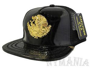 dad2cfa2 New MEXICO Snapback Hat Black Polished Faux Snake Leather Gold Badge ...