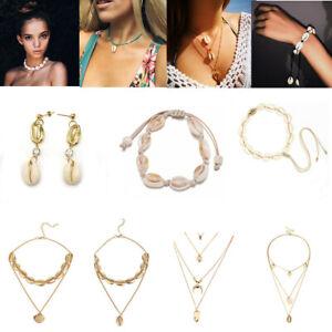 Summer-Beach-Sea-Shell-Cowrie-Chain-Pendant-Necklace-Earring-Bracelet-Jewelry