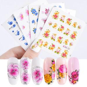 55-Sheets-Kirsche-Nagel-Wasser-Aufkleber-Blume-Rose-Nail-Art-Transfer-Stickers