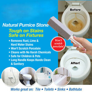 Details About 2pcs Practical Water Toilet Bowl Natural Pumice Stone Cleaner Brush Wand