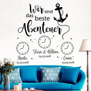 Pegatina-Pared-034-SOMOS-Das-Beste-Abenteuer-034-con-wunschdaten-Reloj-12363