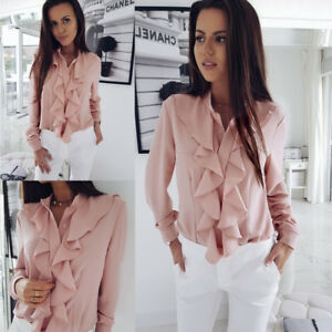 Fashion-Women-Blouse-Tops-Ladies-Ruffle-Long-Sleeve-Loose-Casual-Office-Shirt