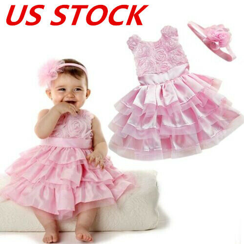 US Toddler Baby Girls Floral Tulle Dress Princess Pageant Party Dresses+Headband