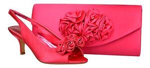 952689021f6b WOMENS HOT PINK WEDDING PROM EVENING PEEP TOE LOW HEEL SHOES ...