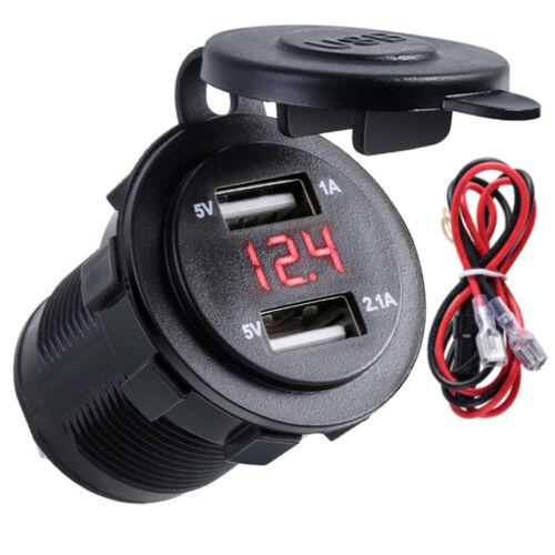 Auto Steckdose Dual USB Ladegerät Buchse 12V//24V KFZ Einbau Zigarettenanzünder