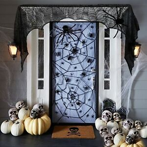 Halloween-2017-Props-Party-Scary-Indoor-Vintage-Decorations-Lace-Spider-Black