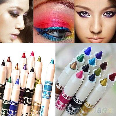 12 Color Cosmetic Glitter Eye Shadow Lip Liner Eyeliner Pencil Makeup Set 0816