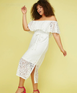 New LANE BRYANT  90 White Lace Off-The-Shoulder Fit & Flare Dress Plus 18 20 2X