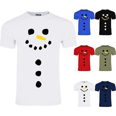 Mens Snowman Carrot Nose Short Sleeve Crew Neck Xmas Stretchy T-Shirt Tee Top