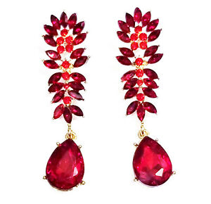 Drag-Queen-Chandelier-Earrings-Red-Rhinestone-Crystal-Bridal-Prom-Pageant-2-6-in