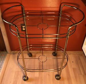 Vintage-MCM-Brass-and-Glass-Bar-Tea-Cart-Trolley-Hollywood-Regency-2-Tier-Oval