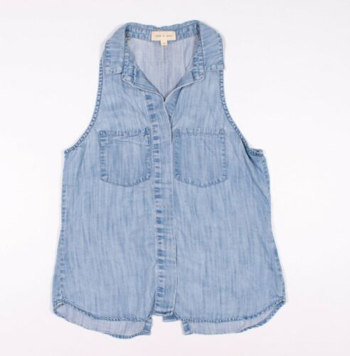 Cloth & Stone Blue Denim Chambray Sleeveless Top S