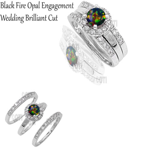 Black Fire Opal Round Cut Engagement Wedding Genuine Sterling Silver Ring Set