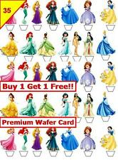 70 Disney Princess Birthday Cup Cake Toppers Premium Card Wafer Edible *Stand up