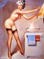1940s Pin-up Girl Washing My Hair Picture Poster Print Art Pin Up