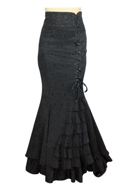 Gothic Fishtail Corset Mermaid Steampunk Ruffle Spanish Long Jacquard Skirt NO33