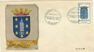 FDC-Erste-Dia-Spanien-1963-Wappen-Coruna