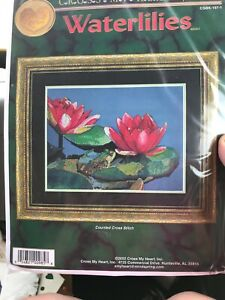 Water-Lilies-amp-Frog-Counted-Aida-Cross-Stitch-Kit-Cross-My-Heart-Retired
