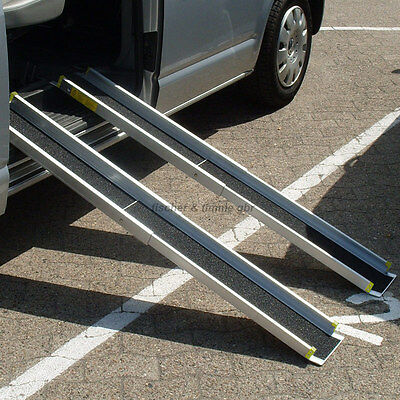 0,9m o. 1,5m Alu Rollstuhlrampe Teleskoprampe Rampe Rollirampe Auffahrschienen