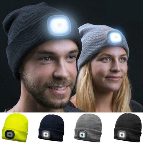 Unisex Cold Weather Winter Beanie Hat with  LED Head Lights