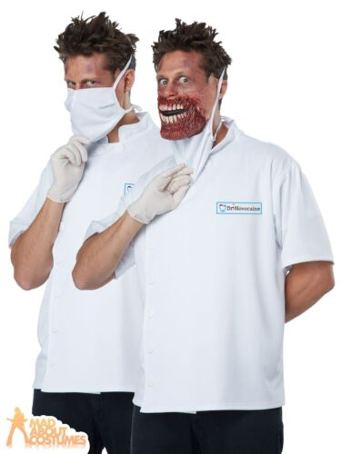 Mens Doctor Novocaine Costume Halloween Zombie Dentist Dr Fancy Dress Outfit