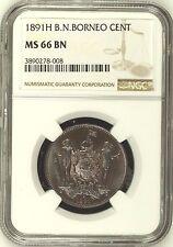 1891 H British North Borneo Bronze Coin 1 Cent NGC MS66