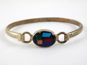 Vintage-Taxco-Mexico-Multiple-Gemstone-Inlay-Oval-Clasp-Sterling-Silver-Bracelet
