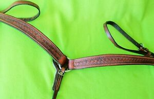 Top Quality TOOLED Double Stitch Leather Show Ranch Trail BREAST COLLAR~CLEAN~N