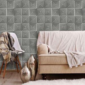 Geometrique-Metallique-Carre-Papier-Peint-3D-Cube-Muriva-L44609-Argent-Charbon