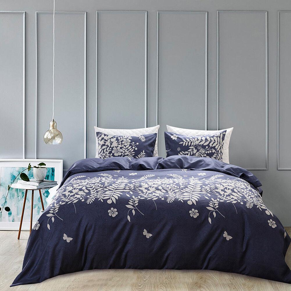 Flower Print Quilt Duvet Cover Pillowcase Set Bedding Twin Queen King All Size