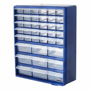 Details About 39 Drawer Blue Multi Tools Diy Storage Cabinet Organiser Box Storing Nuts Bolts