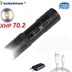 200000LM XHP90 Zoomable LED Flashlight Rechargeable Torch Camping Hunting Lamp