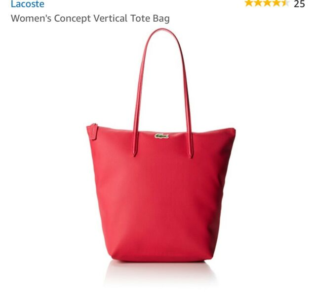 Red Lacoste M1 Vertical Tote Bag With 25 Cm Drop Formula One Color