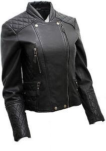 Frauen-Echt-schwarz-gesteppt-Lamm-Nappa-Leder-Bikerjacke