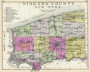 Details About 1912 Century Map Of Niagara County New York