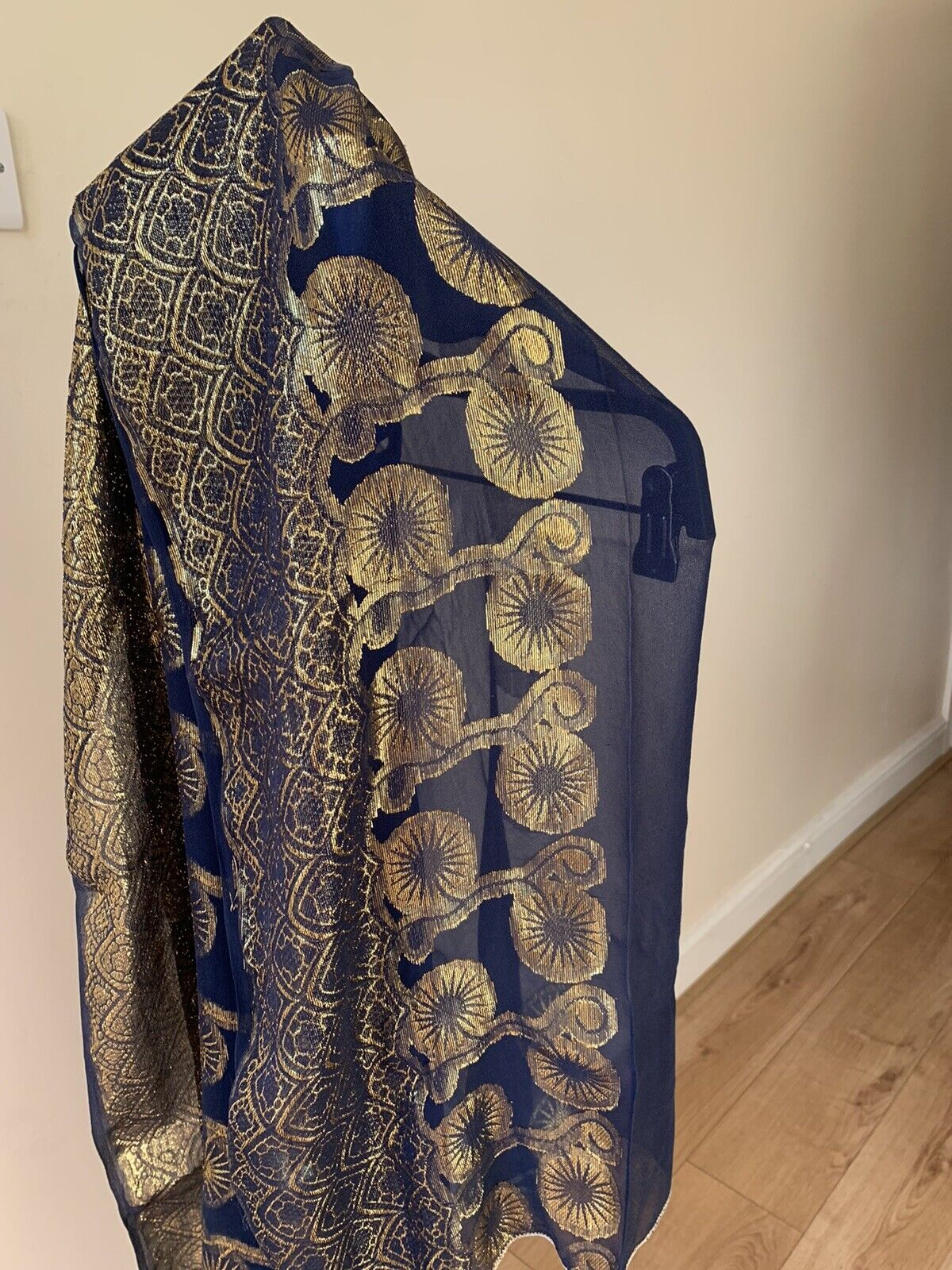 Blue And Yellow /Gold scarf Somali / African / Yemeni and Asian