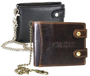 Herren-Geldboerse-Biker-Brieftasche-mit-Kette-Portemonnaie-Geldbeutel-Leder