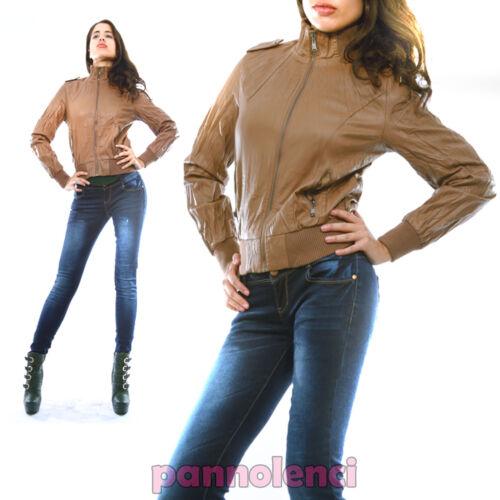 Giacca giubbino giubbottino donna zip effetto pelle colori moda DF-63128