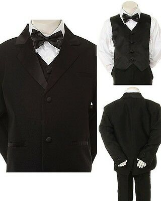 ew Kid Child Boy Black FORMAL Wedding Party Church SUIT Set Tuxedo Suit sz 5-14