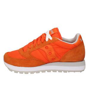 scarpe donna SAUCONY sneakers arancione tessuto camoscio AB705